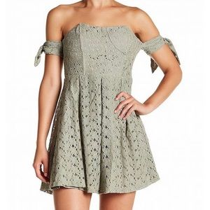 JOA off shoulder lace crochet dress